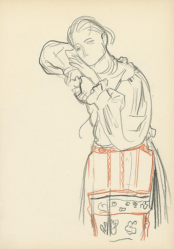 Jaroslav Vodrážka – Stojaca opierajúca sa dievčina v ľudovom odeve