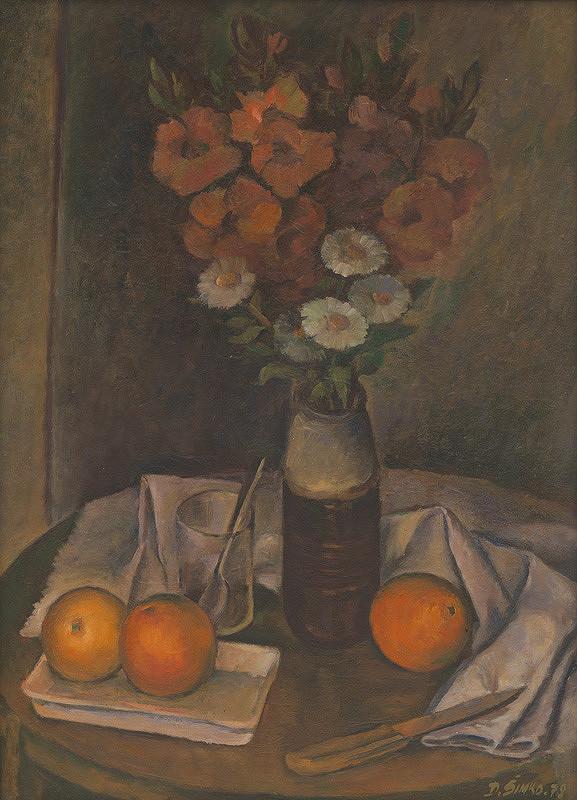Dušan Šimko – Kvetinové zátišie s pomarančami