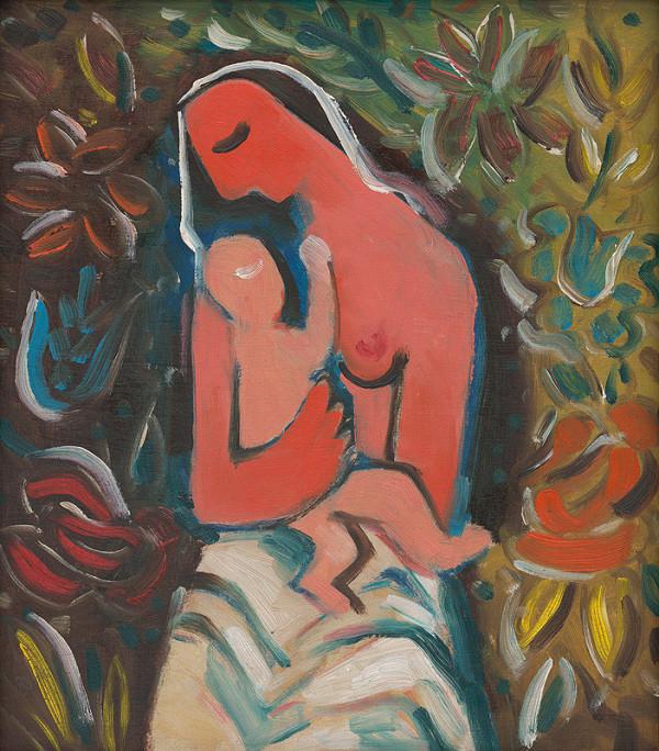 Mikuláš Galanda – Matka s dieťaťom na kvetinovom pozadí