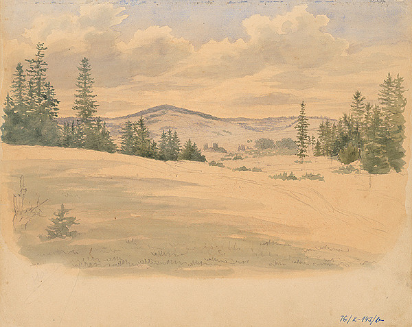 Slovenský kresliar z 3. štvrtiny 19. storočia - Kopcovitá krajina