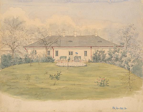 Slovenský kresliar z 3. štvrtiny 19. storočia - Kúpeľná budova v parku