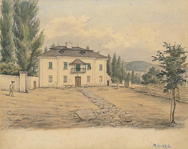 Slovenský kresliar z 3. štvrtiny 19. storočia - Dom s krytým balkónom a záhradou