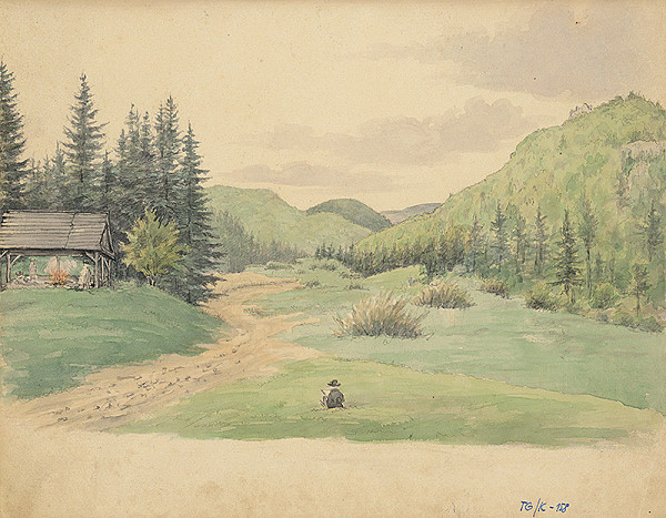 Slovenský kresliar z 3. štvrtiny 19. storočia - Lesnaté údolie s dreveným prístreškom