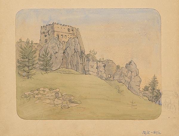 Slovenský kresliar z 3. štvrtiny 19. storočia - Návršie so skalami a hradnou ruinou