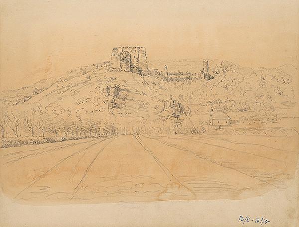 Slovenský kresliar z 3. štvrtiny 19. storočia - Hradná ruina v krajine