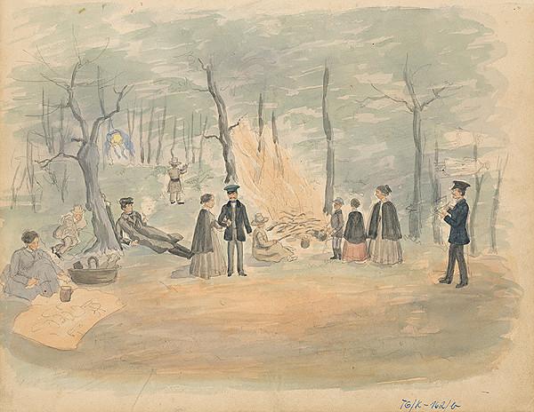Slovenský kresliar z 3. štvrtiny 19. storočia – Piknik v lese
