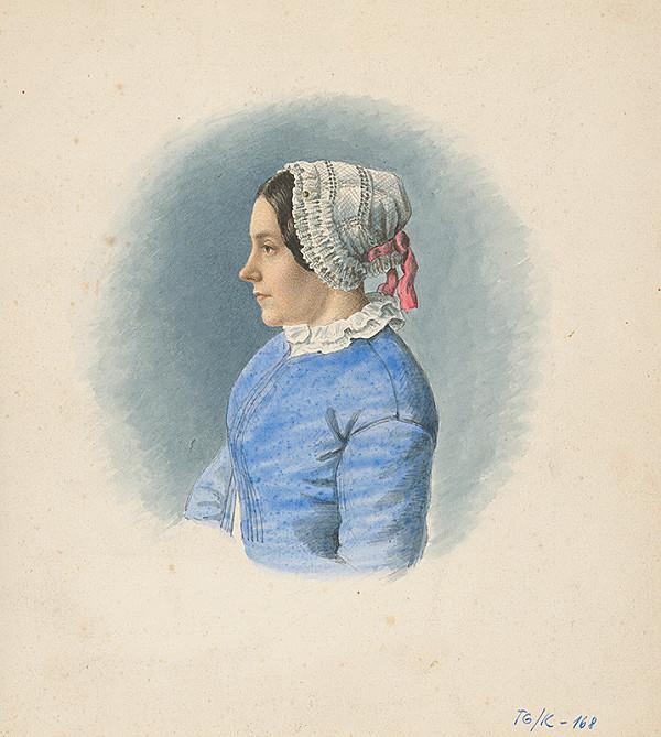 Slovenský kresliar z 3. štvrtiny 19. storočia – Portrét mladej ženy v čepci