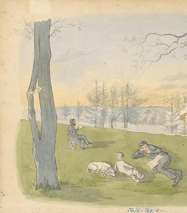 Slovenský kresliar z 3. štvrtiny 19. storočia - Siesta v parku