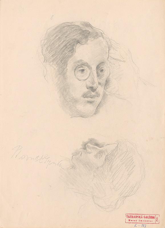 Andor Borúth - Kresba mužskej a ženskej hlavy