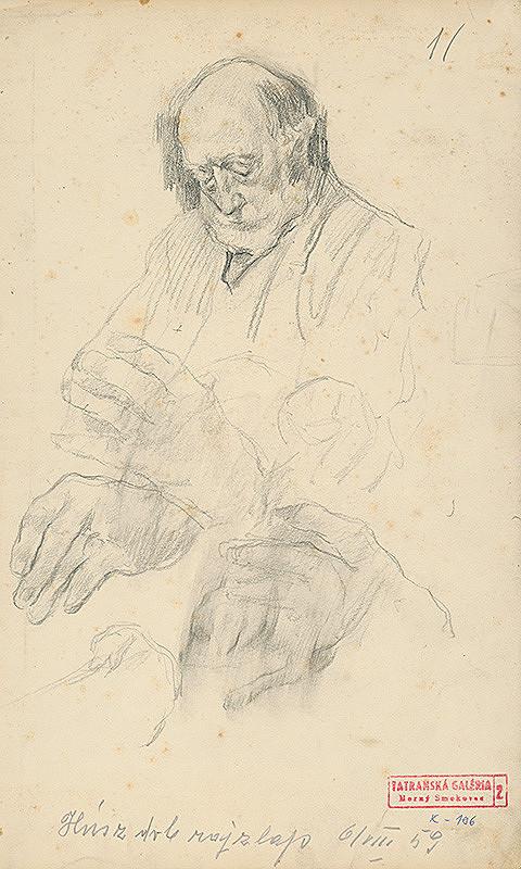 Andor Borúth - Portrét staršieho muža, škice rúk