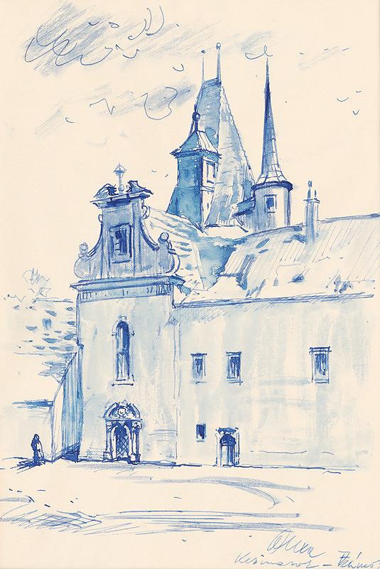 Josef Olexa – Nádvorie Kežmarského hradu s kaplnkou