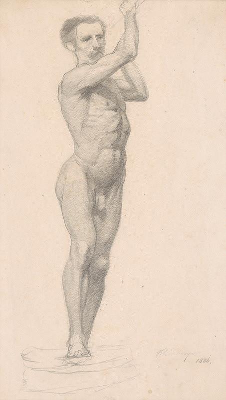Ferdinand Katona – Mužský akt so zdvihnutými rukami