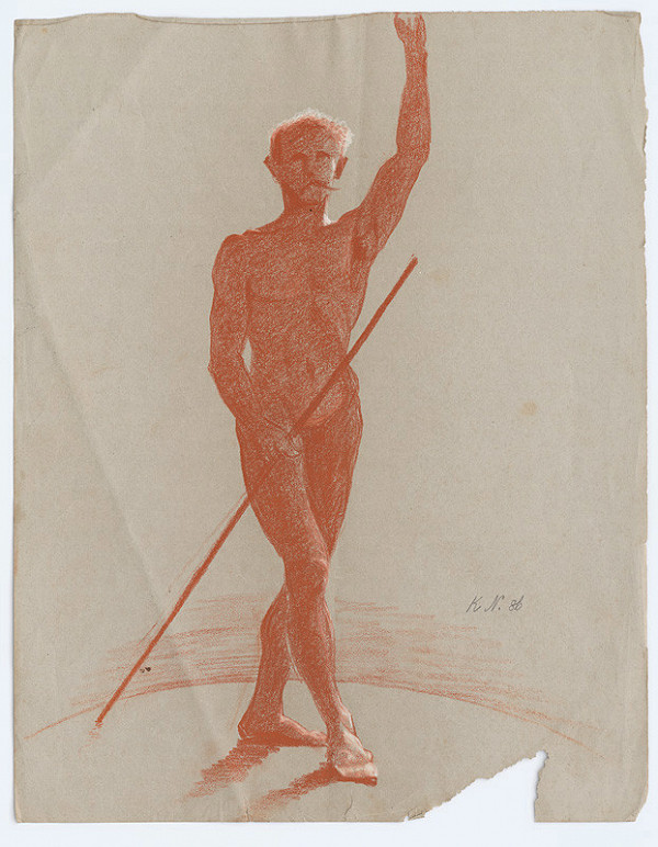 Ferdinand Katona – Stojaci mužský akt s palicou