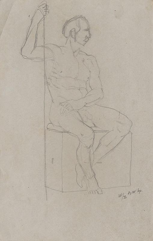 Ferdinand Katona – Sediaci mužský akt s palicou