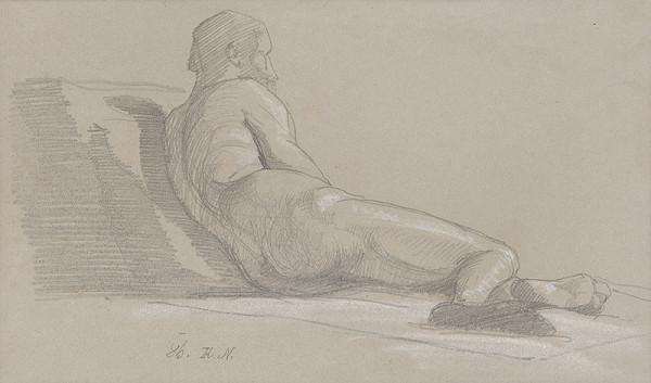 Ferdinand Katona – Ležiaci mužský akt odzadu I.