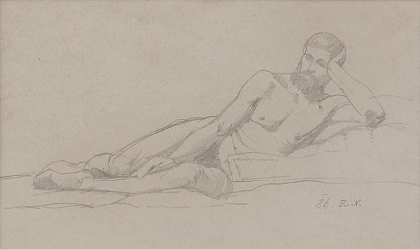 Ferdinand Katona – Ležiaci mužský akt s podopretou hlavou