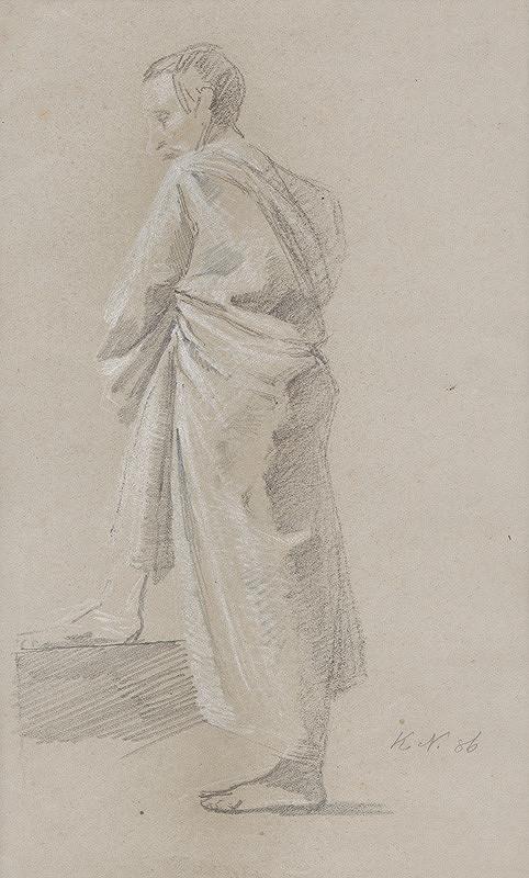Ferdinand Katona - Mužská postava v drapérii z profilu