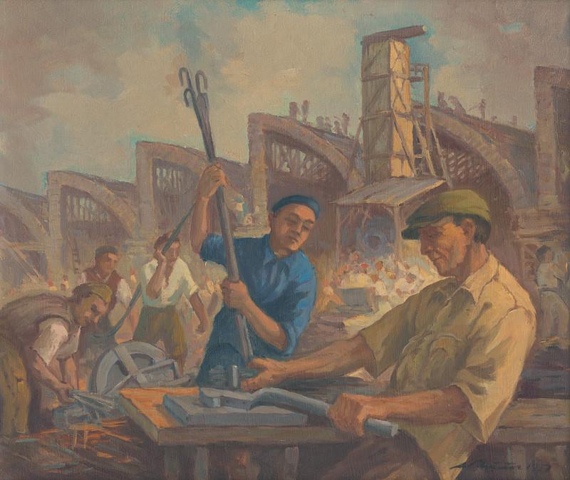 Ľudovít Križan – Stavba textilky II., 1951, Tatranská galéria