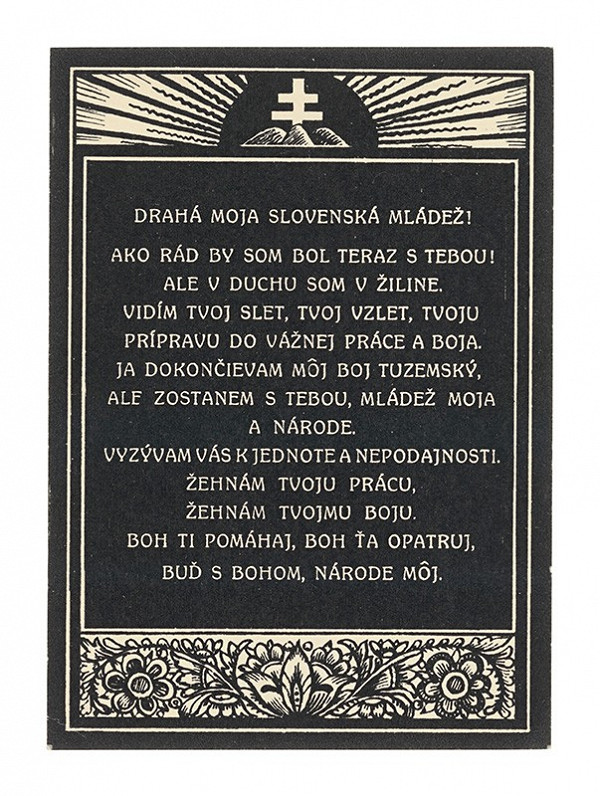 Štefan Leonard Kostelníček – Zo Súboru pohľadníc vydaných k úmrtiu Andreja Hlinku
