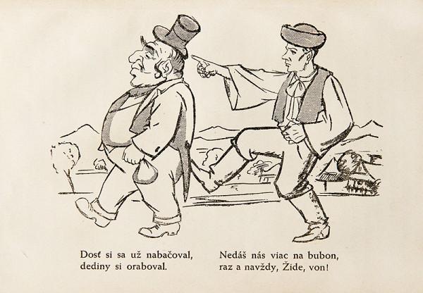 Neznámy autor - Protižidovská karikatúra z publikácie: Ctibor Pokorný - Židovstvo na Slovensku