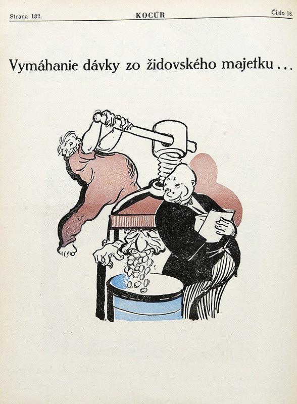 Neznámy autor – Protižidovské karikatúry z humoristického časopisu Kocúr - Vymáhanie dávky zo židovského majetku