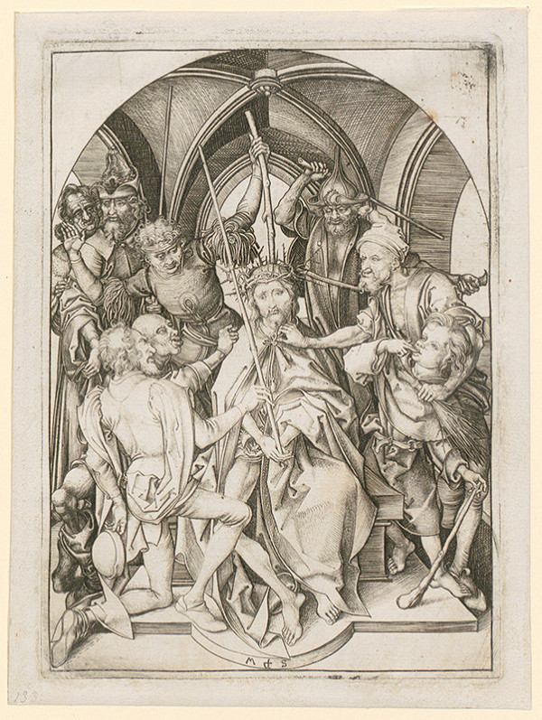 Martin Schongauer - Korunovanie tŕním z cyklu Pašie (5/12)