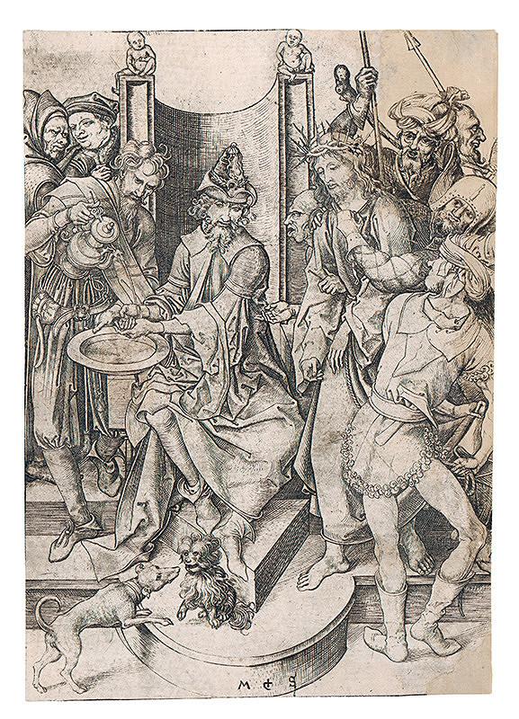 Martin Schongauer - Kristus pred Pilátom Pilát si umýva ruky. Z cyklu Pašie (6/12)