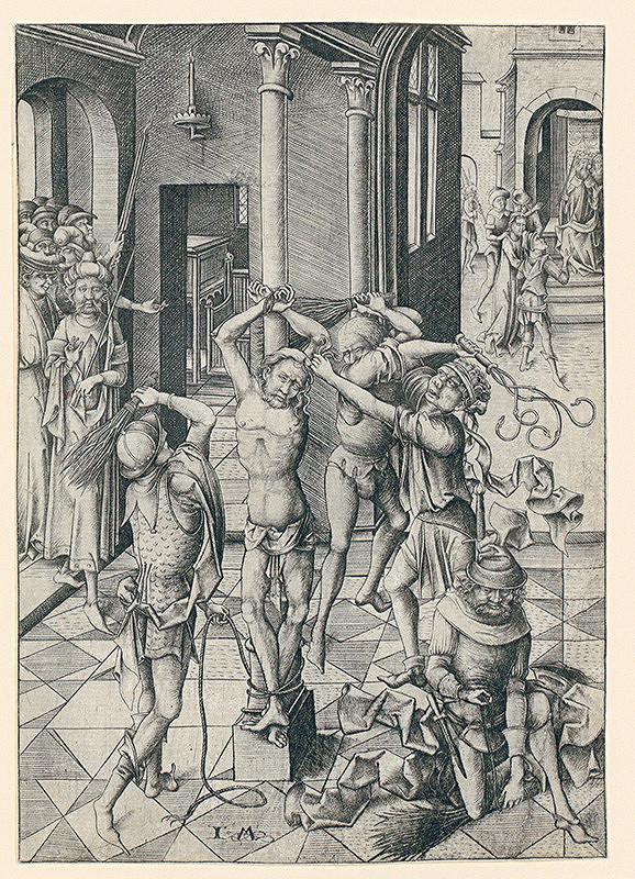 Israhel Van Meckenem - Bičovanie Krista z cyklu veľké pašie (4/12)