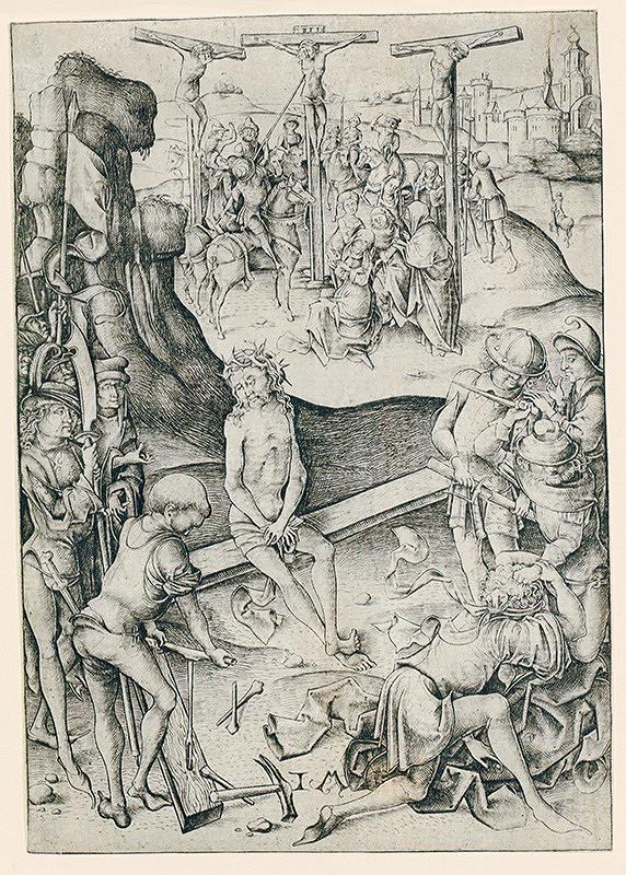 Israhel Van Meckenem - Kristus v núdzi (odpočinok Krista) ukrižovanie z cyklu veľké pašie