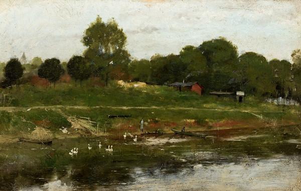 Antonín Chittussi - Přívoz na řece