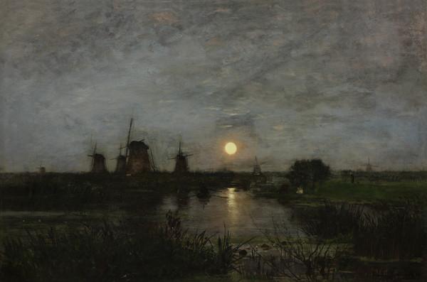 Eugen Jettel - Měsíční krajina s větrnými mlýny