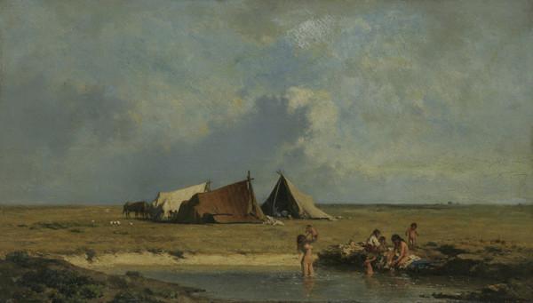 August von Pettenkofen – Cikánský tábor v pustě