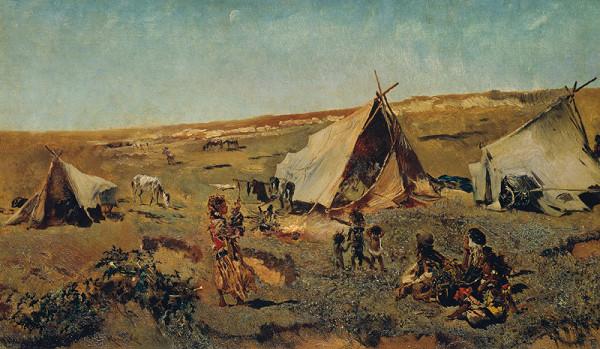 Anton Romako - Cigánský tábor v puste