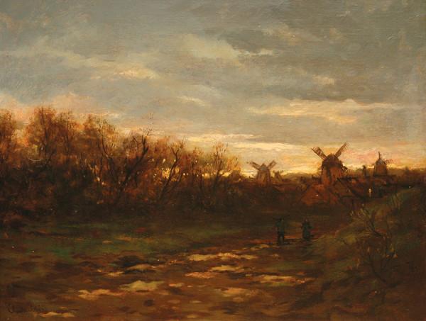 Antonín Chittussi - Krajina s větrnými mlýny