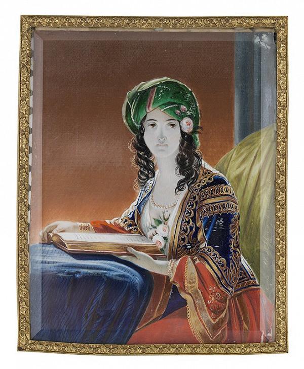 Alojz Sikora – Mladá žena s turbanom (podľa Friedricha von Amerling)