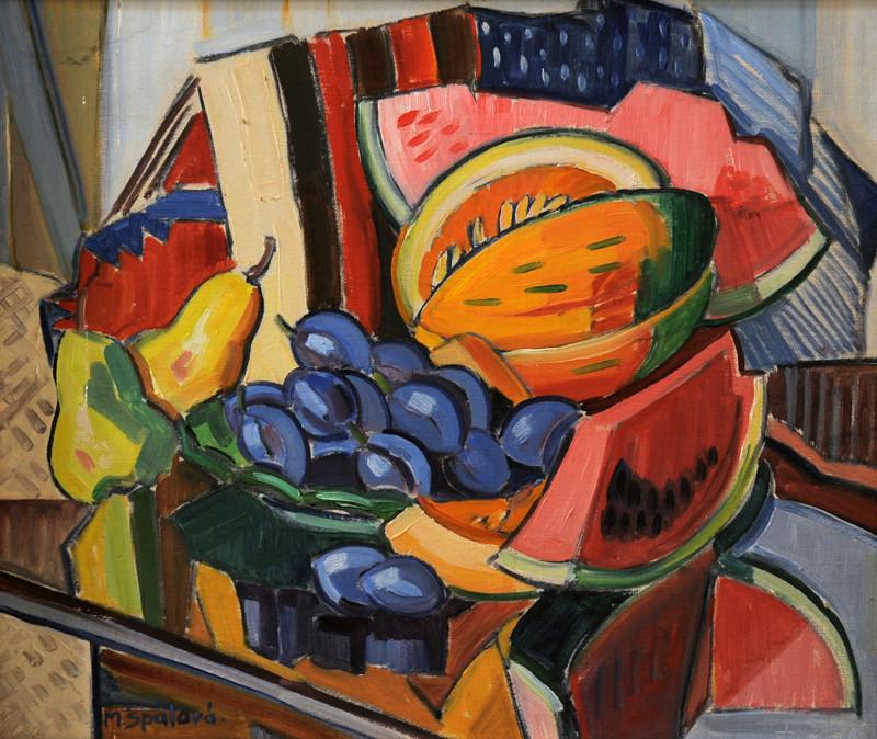 Milada Benešová-Špálová – Zátišie s ovocím, 1930, Zakarpatské oblastné múzeum Jozefa Bokšaja v Užhorode