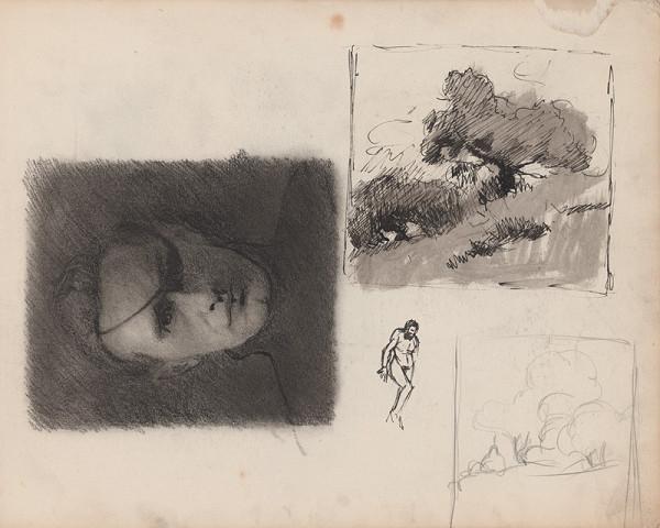 Edmund Gwerk – Skicár 1 Autoportrét; postava muža; stromy