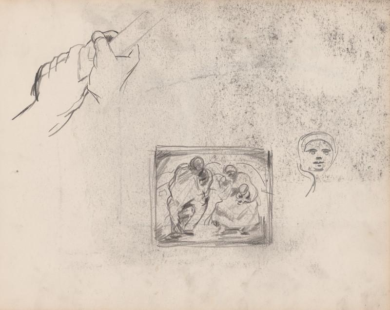 Edmund Gwerk – Skicár 1 Starosti; tvár ženy; ruky