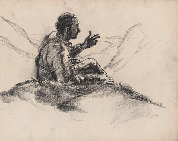 Edmund Gwerk – Skicár 1 Muž sedici v tráve/na kopci