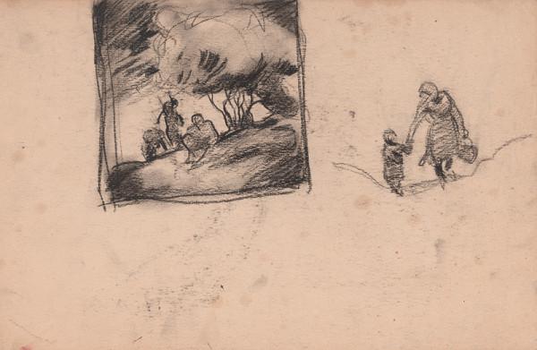 Edmund Gwerk – Skicár 1 Vložený list - postavy pod stromom, Na ceste 2