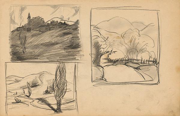 Edmund Gwerk – Skicár 2 Tri skice z plenéru