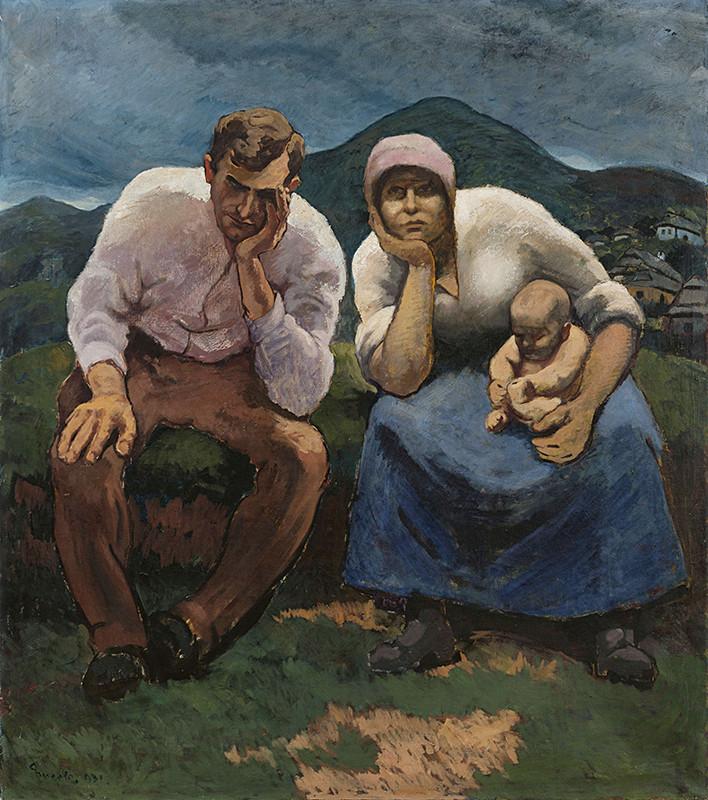 Edmund Gwerk – Nezamestnaní / Starosti, 1931, Galéria Jozefa Kollára