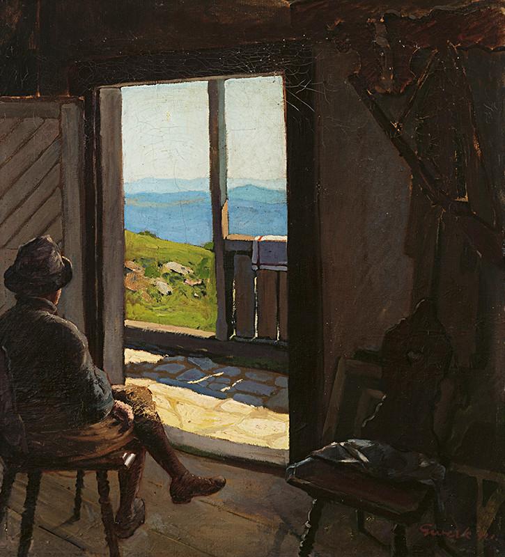 Edmund Gwerk – Chata Andreja Kmeťa na Sitne, 1921, Galéria Jozefa Kollára