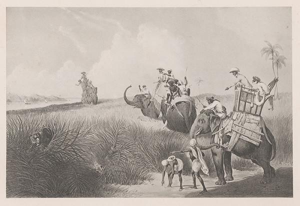 Emanuel Andrássy – Lovci na čerstvej stope tigra. Okolie Murserabatu (Motív z cesty po východnej Indii XI.)