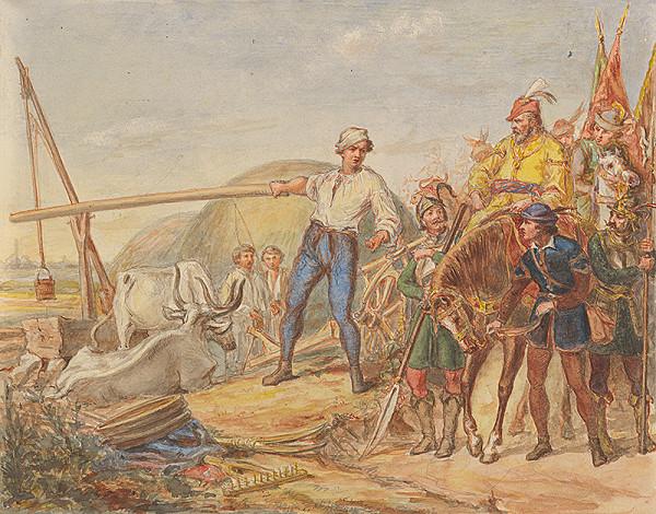 Slovenský maliar z 2. polovice 19. storočia - Napájanie koní