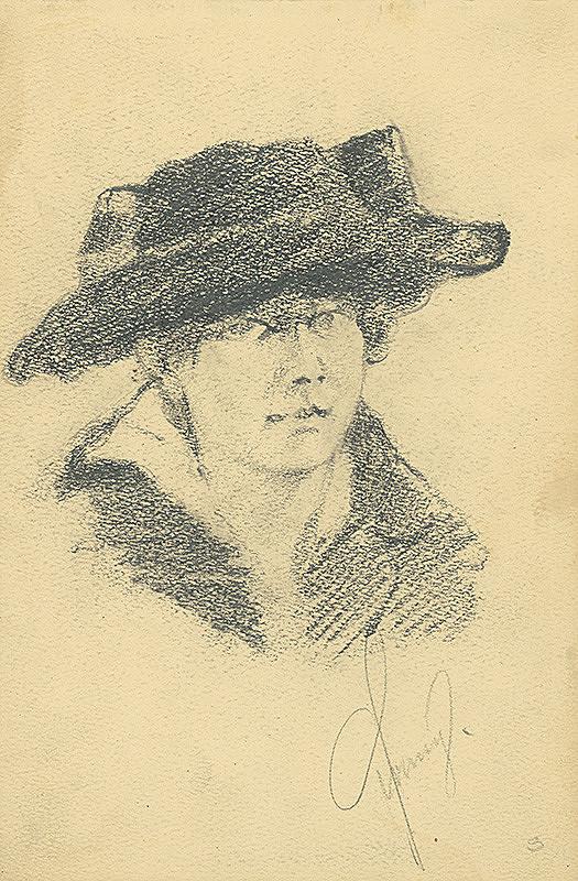 Konštantín Bauer - Štúdia hlavy ženy v klobúku