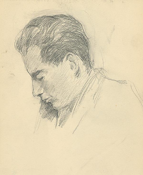 Andor Borúth - Štúdia sklonenej hlavy muža