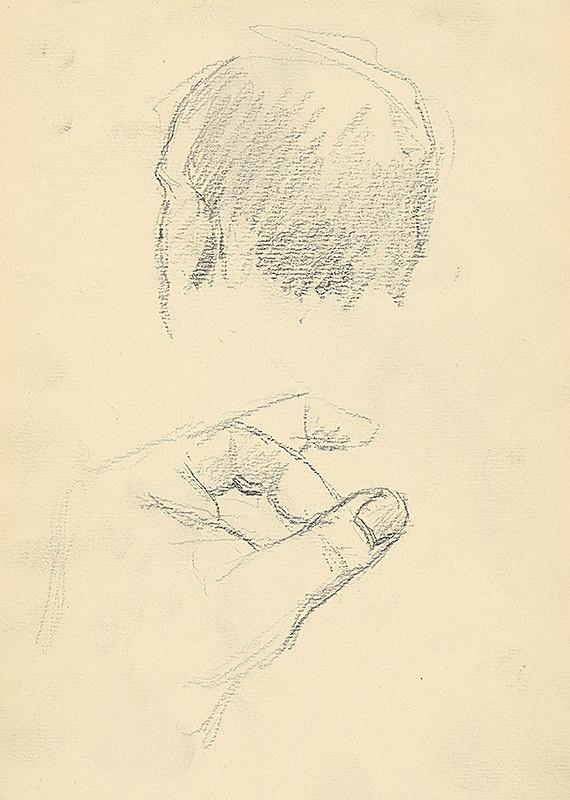 Andor Borúth - Štúdia hlavy a prstov ľavej ruky
