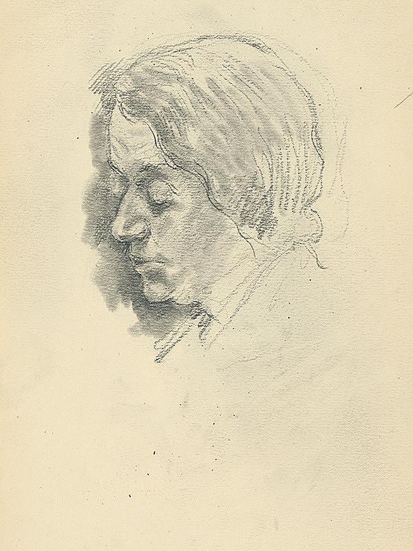 Andor Borúth - Štúdia hlavy ženy