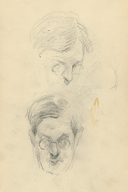 Andor Borúth - Štúdia dvoch mužských hláv v okuliaroch